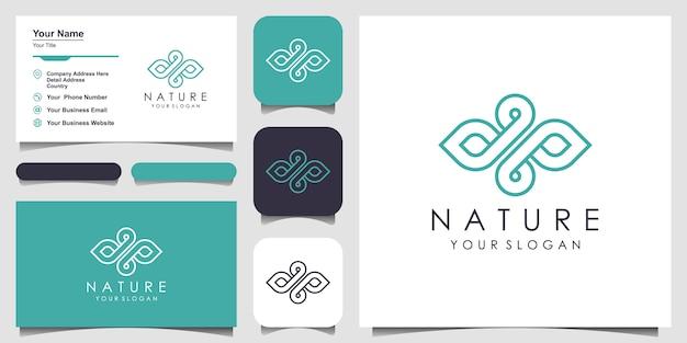 Azeite e folha com estilo de linha de arte. gota de água logotipo natural e cartão de visita. logotipo para beleza, cosméticos, yoga e spa. design de logotipo e cartão de visita.