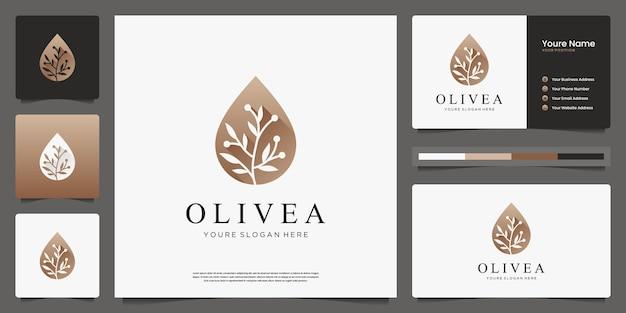 Azeite e logotipo de luxo do ramo e cartões de visita