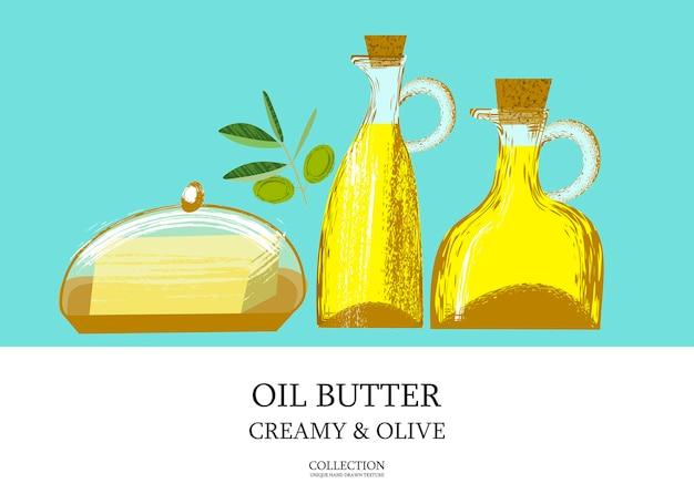 Azeite em uma garrafa de vidro e manteiga. ilustração vetorial com textura desenhada à mão de vetor exclusivo. raminho de oliveira.