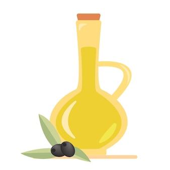 Azeite em uma jarra e azeitonas e ramos de oliveira. ilustração isolada do vetor, ícone, símbolo, objeto, etiqueta, elemento de design para menu, cartaz, etiqueta, embalagem.