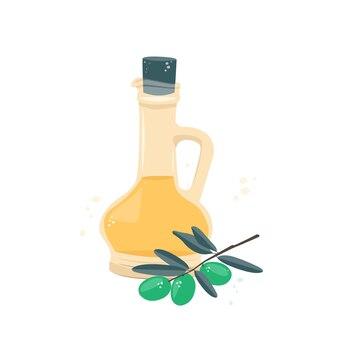 Azeite em uma jarra e um raminho de azeitona