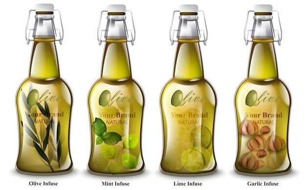 Azeite infundido. garrafas realistas. diferentes aromas de mistura. embalagens de produtos