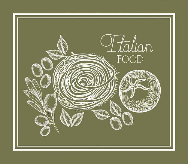 Azeitona e tomate planta desenhada comida italiana