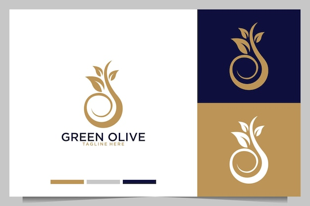 Azeitona verde com logotipo de folha