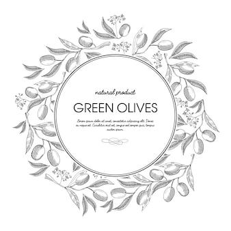 Azeitonas verdes em volta da composição do esboço da coroa com lindas flores e inscrição