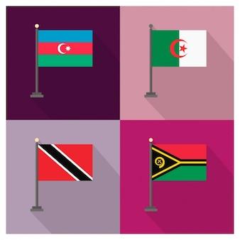 Azerbaijão argelia trinidad e tobago e vanuatu flags