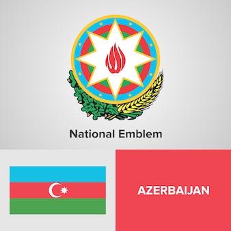 Azerbaijão mapa bandeira e emblema nacional