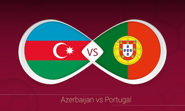 Azerbaijão vs portugal na competição de futebol, grupo a. versus ícone no fundo do futebol.