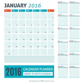 Azul 2016 calendário com detalhes vermelhos