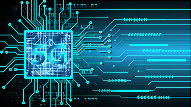 Azul 5g cpu cyber circuito futuro tecnologia conceito plano de fundo