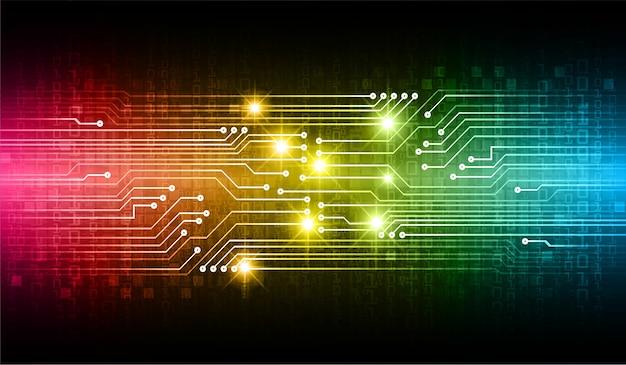 Azul, amarelo amd rosa placa de circuito binário tecnologia futura