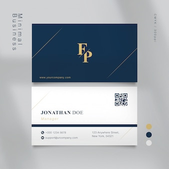 Azul clássico com formas mínimas da cor ouro cartão de visitas
