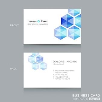 Azul do hexágono low poly modelo do cartão