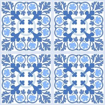 Azul e branco damasco floral sem costura de fundo.