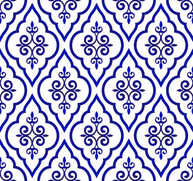 Azul e branco padrão real, plano de fundo sem emenda