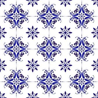 Azul e branco padrão sem emenda