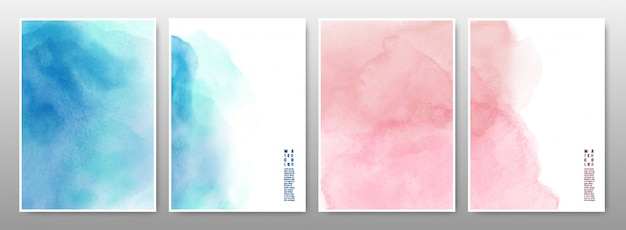 Azul e rosa o conjunto de fundo aquarela