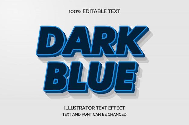 Azul escuro, efeito de texto editável, cor de gradação azul