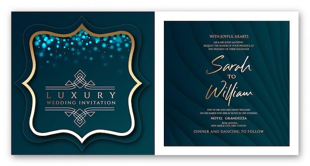 Azul esverdeado do convite de luxo