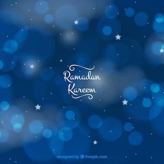 Azul, fundo, bokeh, ramadan, kareem