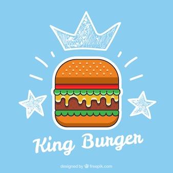 Azul, fundo, gostoso, hambúrguer, esboços