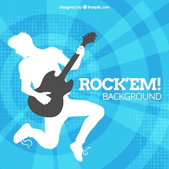 Azul, fundo, guitarrista, silueta