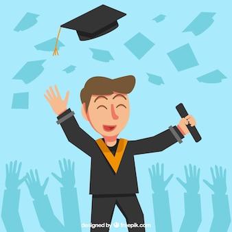 Azul, fundo, sorrindo, estudante, diploma, biretta