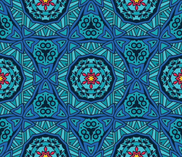 Azul geométrico caleidoscópico padrão sem emenda étnico tribal fundo