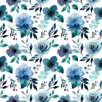 Azul índigo floral aquarela sem costura padrão