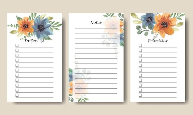 Azul laranja floral aquarela para fazer lista de modelos de notas para impressão