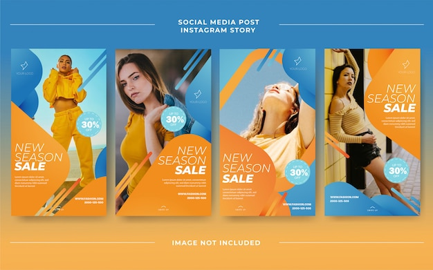 Azul laranja moda casual venda moderna instagram mídia social postar modelo de feed