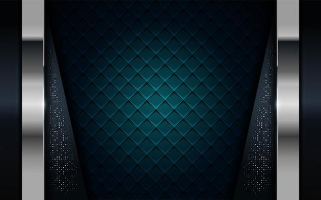 Azul marinho realista combinar com fundo prata e preto linha texturizada