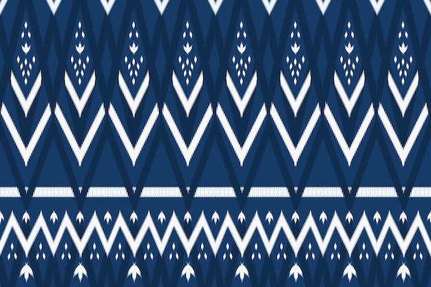 Azul marinho tom asiático étnico geométrico oriental ikat padrão tradicional sem emenda. design para plano de fundo, tapete, pano de fundo de papel de parede, roupas, embrulho, batik, tecido. estilo de bordado. vetor