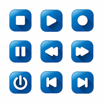 Azul media player ícones