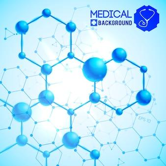 Azul médico com ilustração realista de símbolos de medicina e ciência