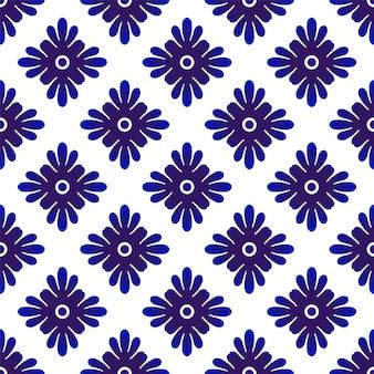 Azul padrão floral sem costura