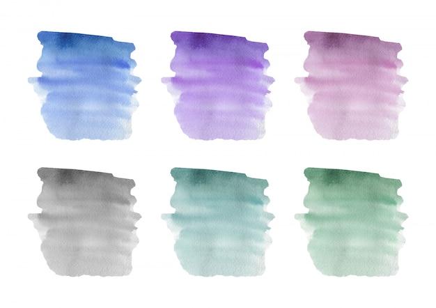 Azul, rosa, roxo e verde pincel traçado textura aquarela. ilustração vetorial