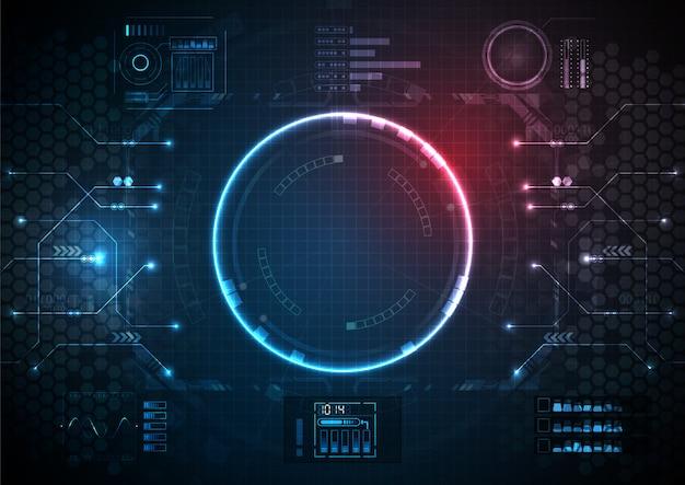 Azul rosa várias funções futuristas com tecnologia digital circuit