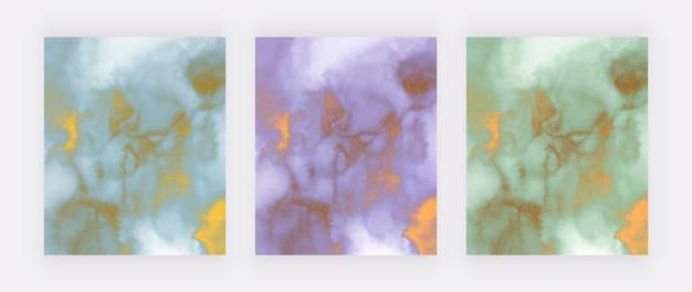 Azul, roxo e verde com textura de mármore com glitter dourado