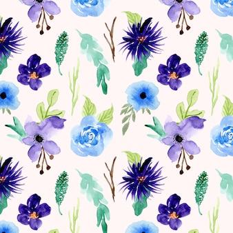 Azul roxo floral aquarela sem costura padrão