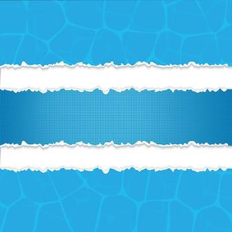 Azul tira de papel rasgado