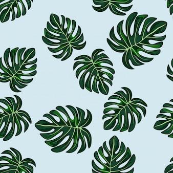 Azul, tropical, folhas, monstera, padrão