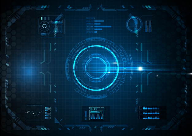Azul várias funções futuristas tecnologia digital