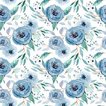 Azul verde floral aquarela sem costura padrão