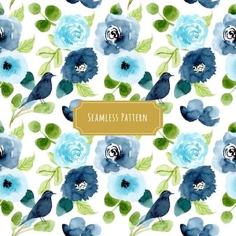 Azul verde floral e pássaro aquarela sem costura padrão