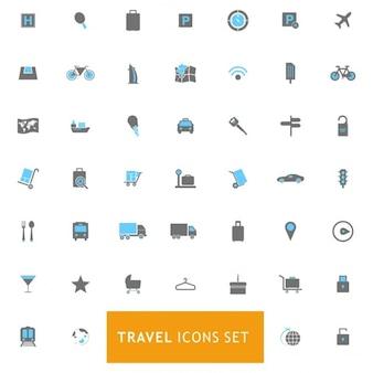 Azul viagens e cor cinza icons set