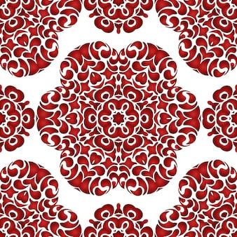 Azulejo abstrato vermelho sem costura aquarela floral padrão