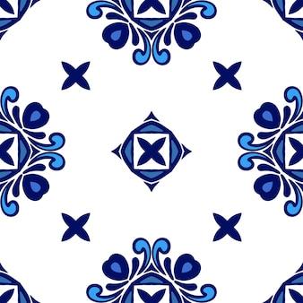 Azulejo azul e branco de estilo geométrico desenho de cerâmica