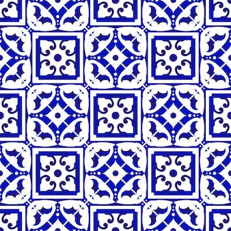 Azulejo azul e branco sem costura padrão