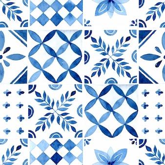 Azulejo azul rústico aquarela sem costura padrão